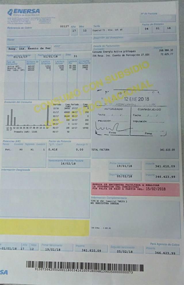 factura enersa arroceros