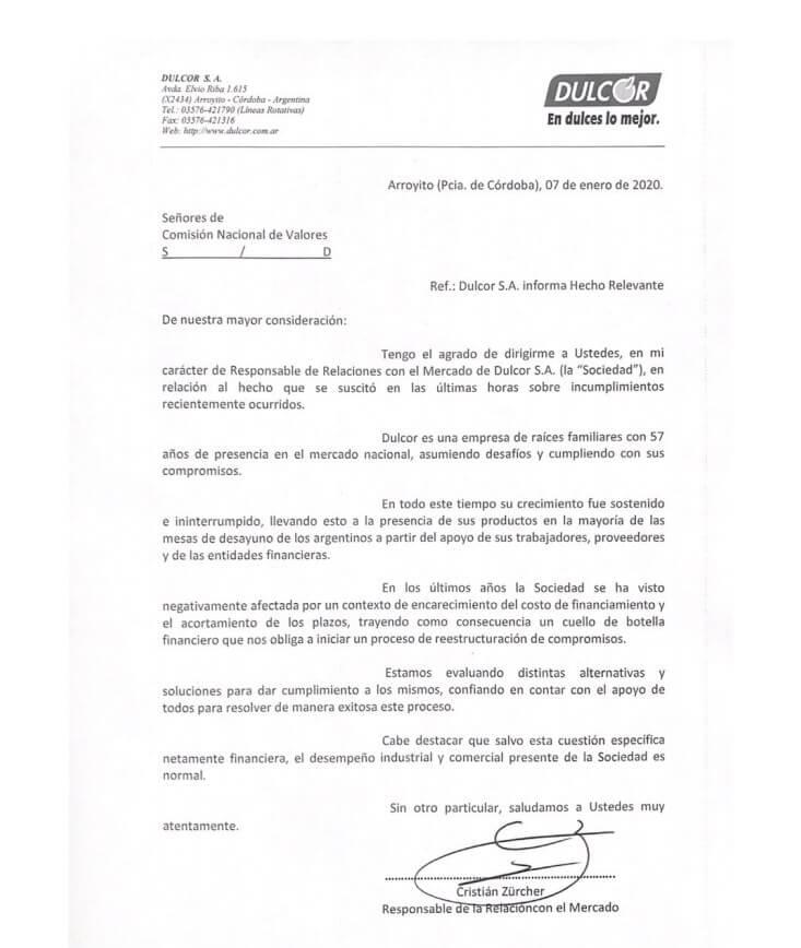 Dulcor: carta enviada a la Comisión Nacional de Valores