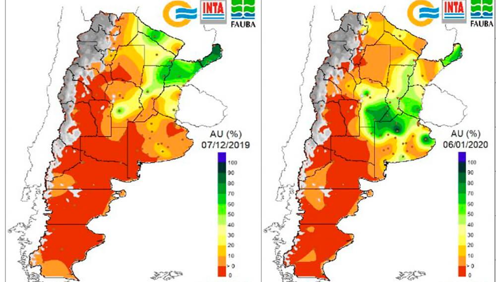 Lluvias: estado de humedad de los suelos entre dic19 y ene20.