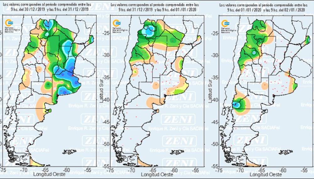 Lluvias: registros de los últimos días del año en todo el país - 30/12 a 1/1/20
