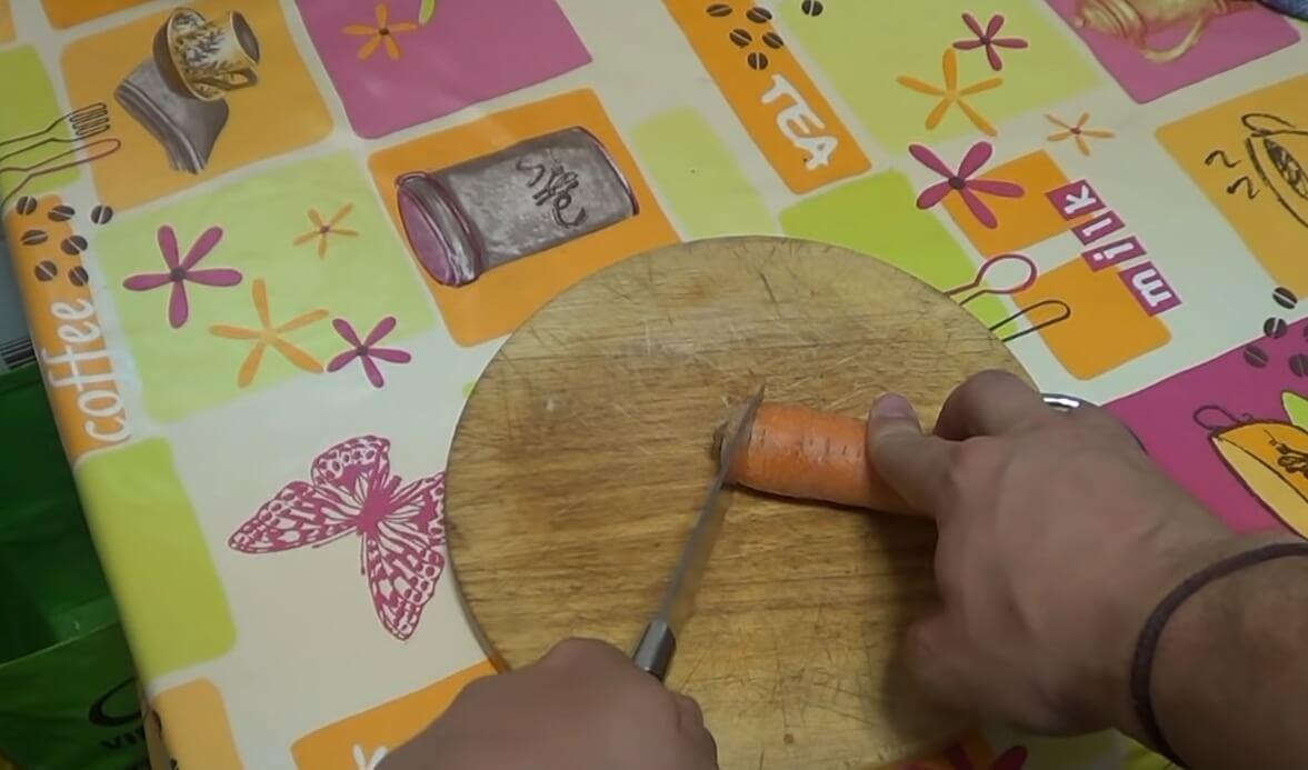 corte de zanahoria