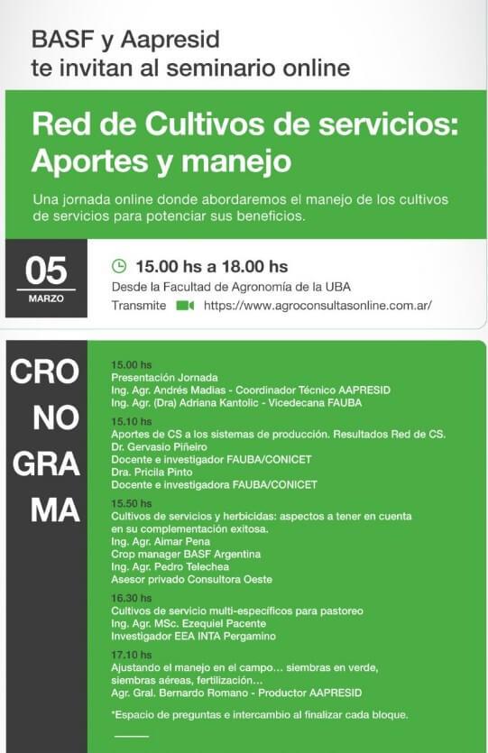 Cronograma charla - Cultivos de Servicios - Aapresid