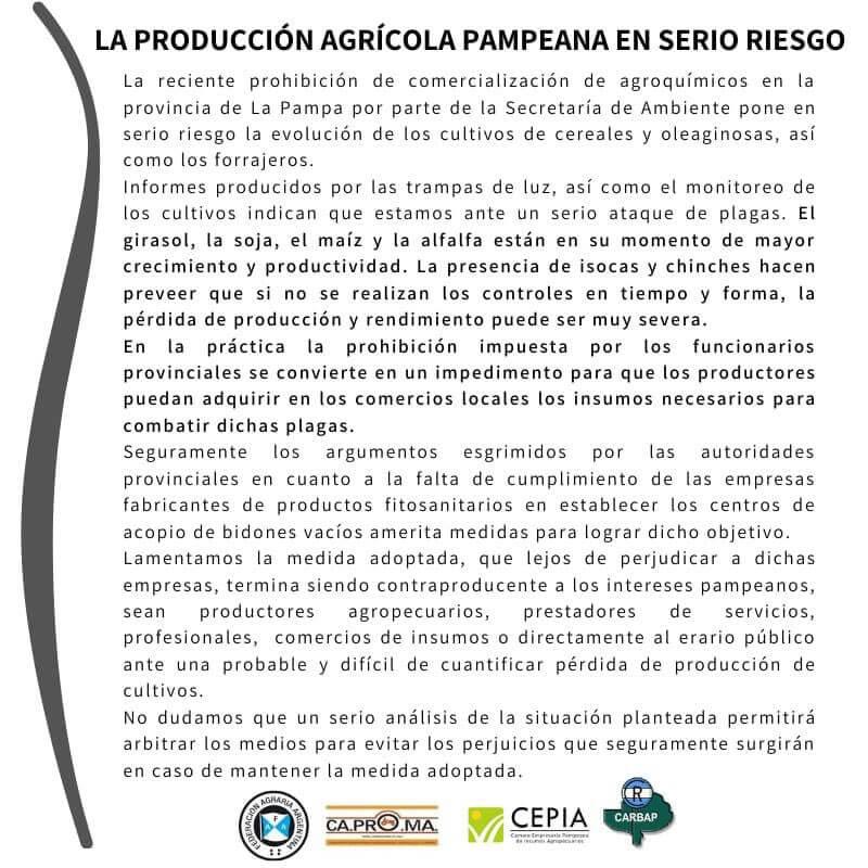 La Pampa - Carta por la prohibición de agroquímicos
