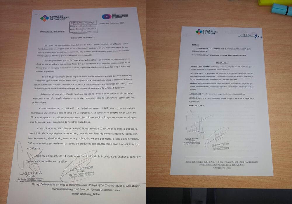 Chubut (Trelew) - Ordenanza de concejales de Trelew sobre la prohibición del glifosato