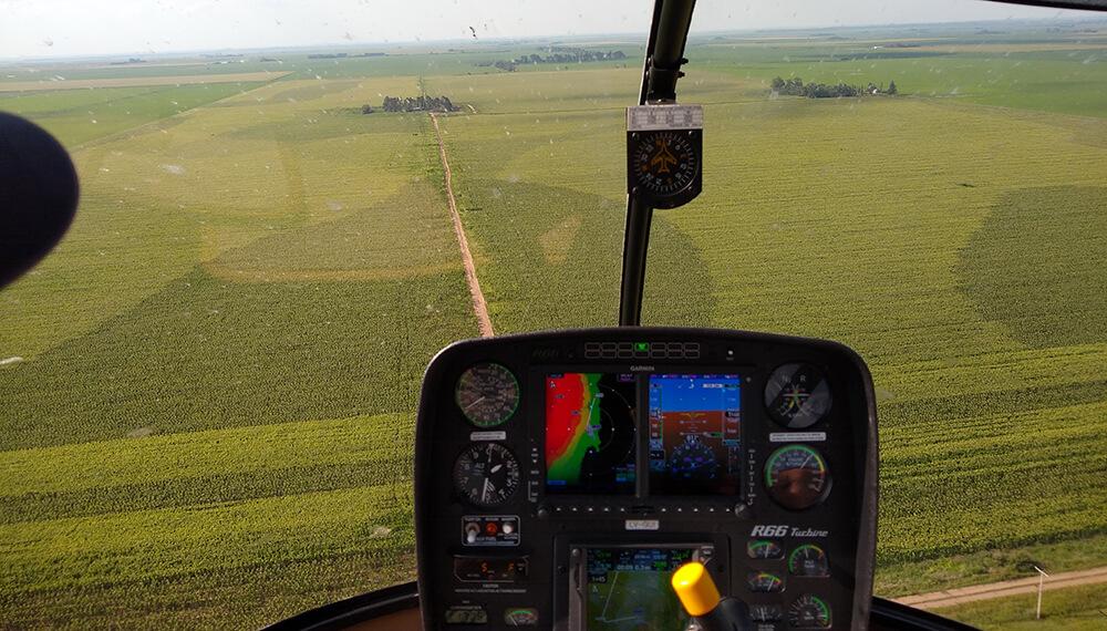 Vista aerea de un campo de maíz
