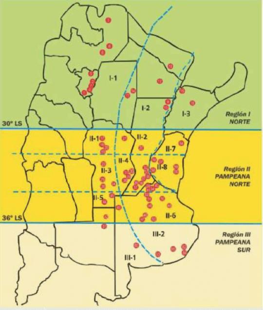 Regiones y subregiones de la RECSO