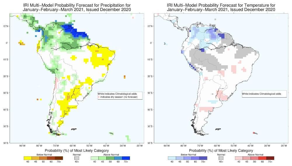 Mapa de lluvias para el trimestre enero a marzo