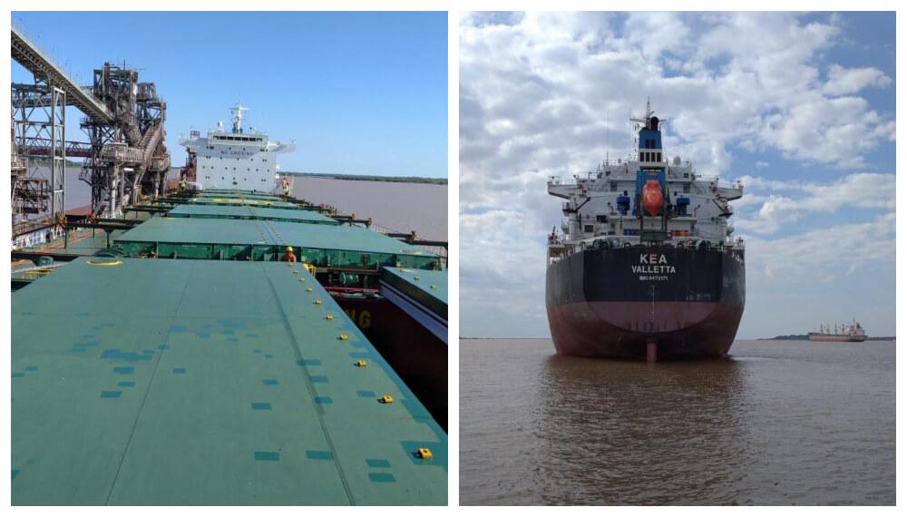 Barco que zarpa con cebada uruguaya