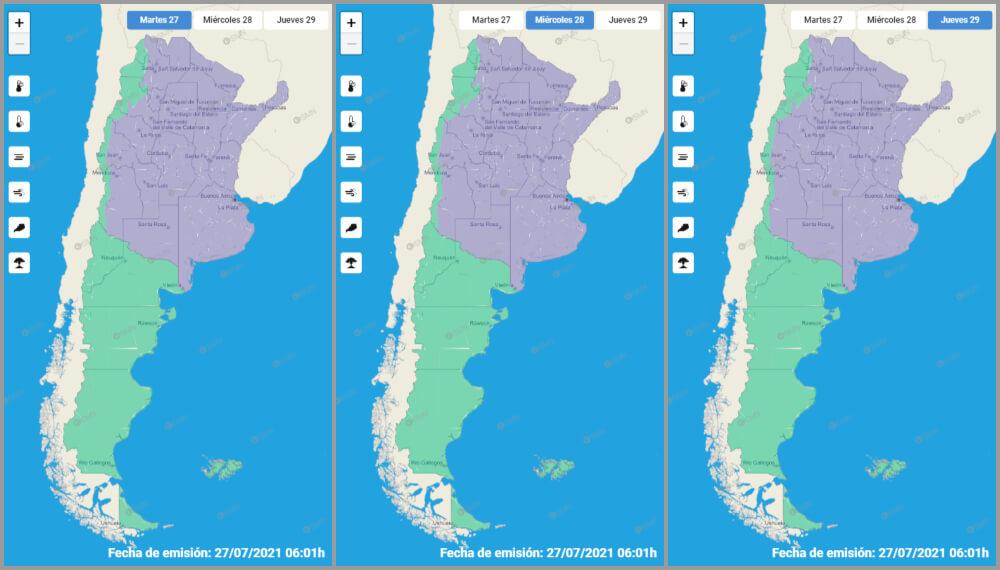 Mapas de bajas temperaturas - Argentina