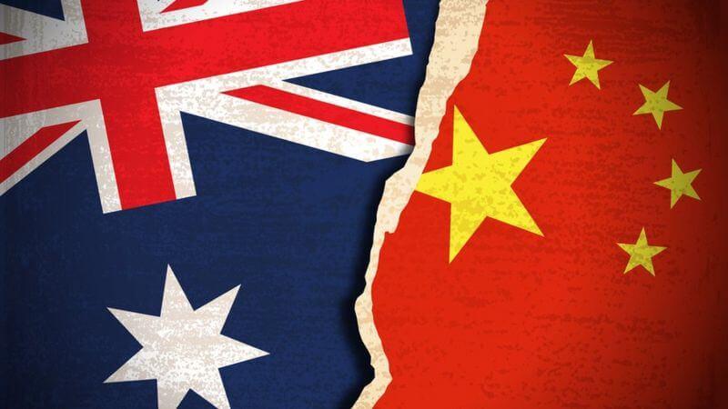 Australia china banderas