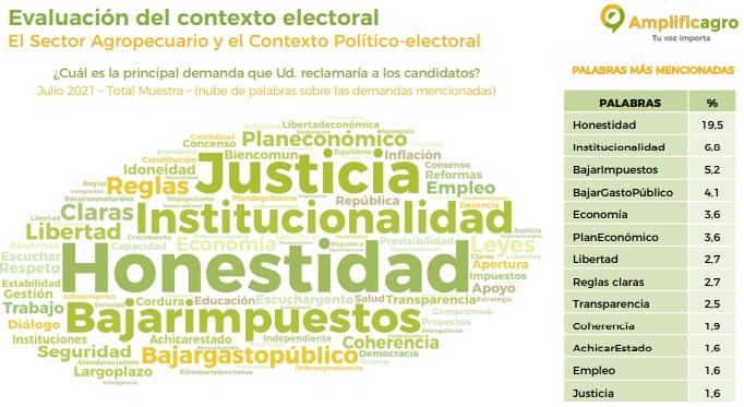 Elecciones 2021 - Nube de palabras panel AmplificAgro