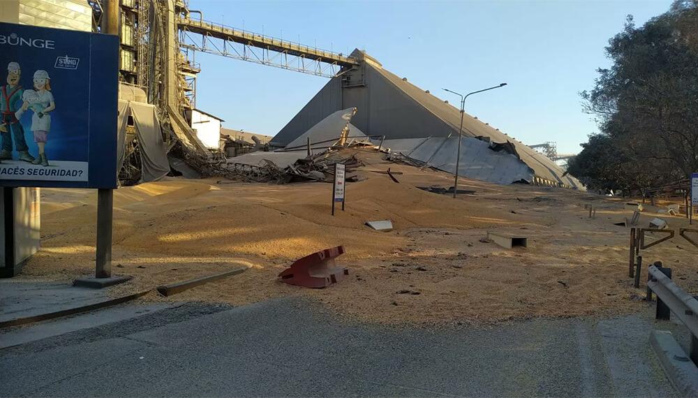 Imagenes de derrumbe silo de Bunge en el puerto de Rosario