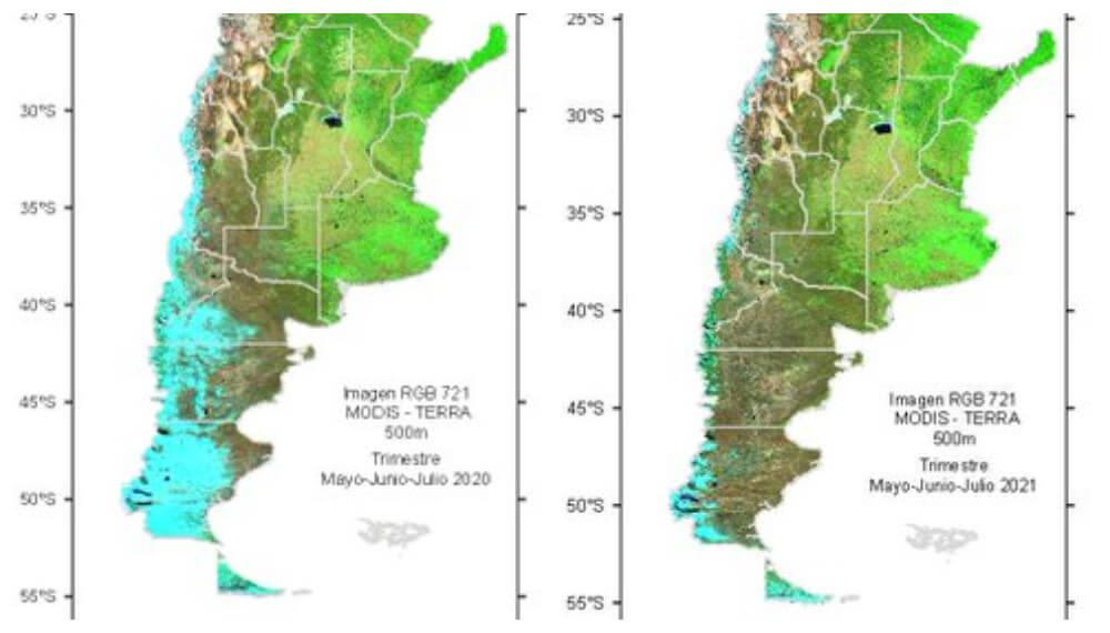 Comparativo nevadas en Cordillera 2020 versus 2021