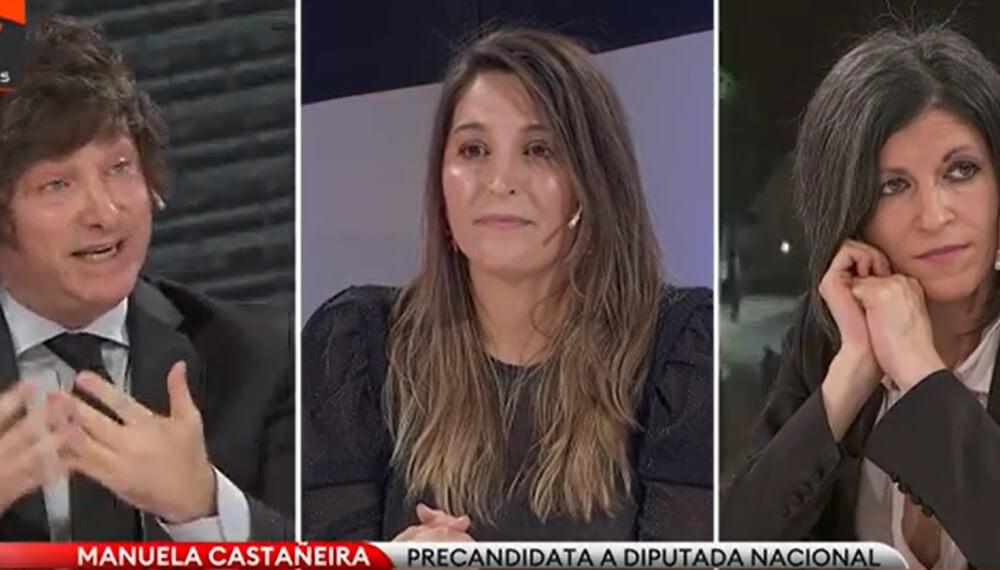 Debate televisivo en TN con Milei, Castañeira y Vallejos