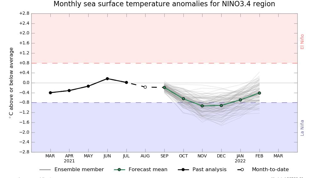 Temperatura Pacifico Ecuatorial - La Niña