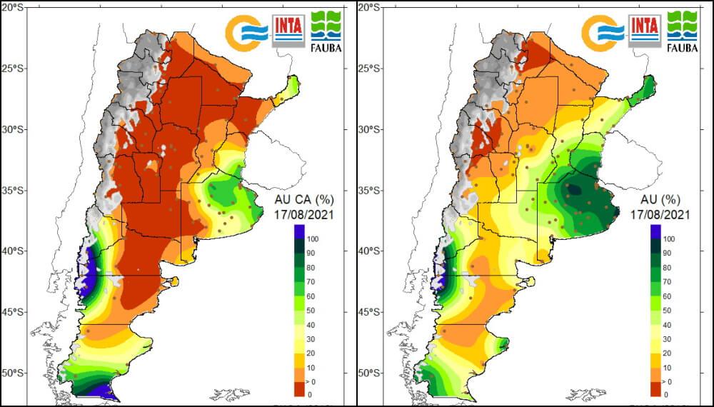 Mapa de agua disponible en el suelo - Agosto 2021