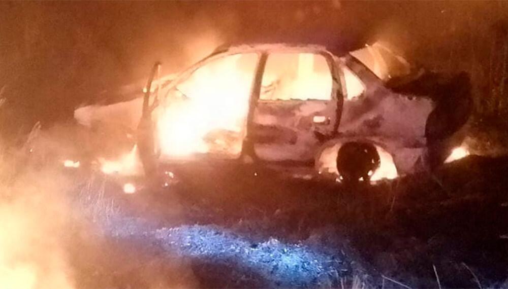 Auto incendiado por ciervo