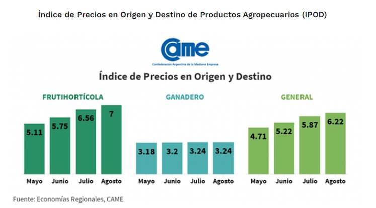 Indice de precios - Agosto - CAME