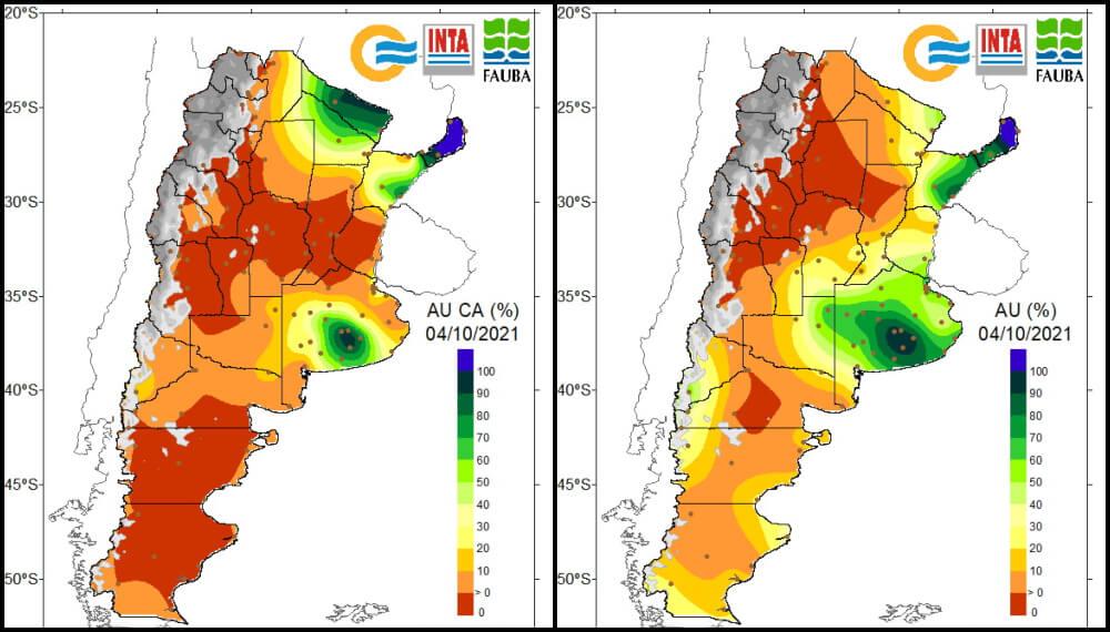 Disponibilidad hídrica de los suelos - Primera semana de oct 2021